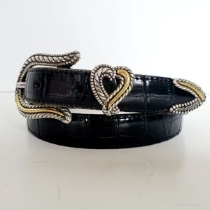 Brighton Heart Black Reptile Leather Belt 30